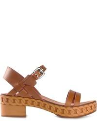 Sandali con tacco in pelle marroni di Casadei