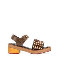 Sandali con tacco in pelle marroni di Marni