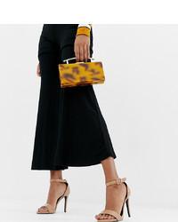 Sandali con tacco in pelle marroni di New Look Wide Fit