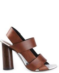 Sandali con tacco in pelle marroni di Proenza Schouler