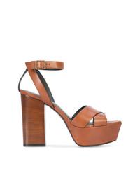 Sandali con tacco in pelle marroni di Saint Laurent