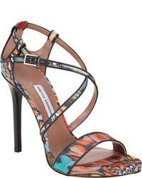 Sandali con tacco in pelle multicolori