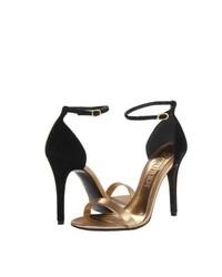Sandali con tacco in pelle neri e dorati