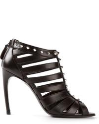 Sandali con tacco in pelle neri di Alexander McQueen
