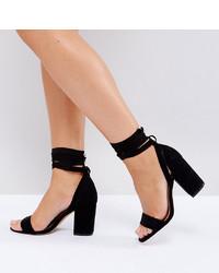 Sandali con tacco in pelle neri di ASOS DESIGN