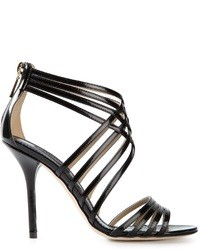 Sandali con tacco in pelle neri di Dolce & Gabbana