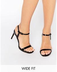 Sandali con tacco in pelle neri di Faith