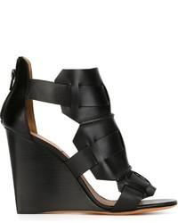 Sandali con tacco in pelle neri di Givenchy