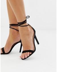Sandali con tacco in pelle neri di Glamorous