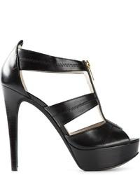 Sandali con tacco in pelle neri di MICHAEL Michael Kors