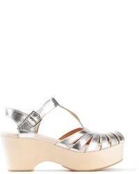 Sandali con tacco in pelle pesanti argento