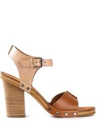 Sandali con tacco in pelle pesanti marroni