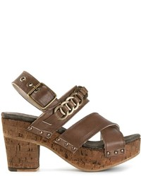 Sandali con tacco in pelle pesanti marroni di Fiorentini+Baker