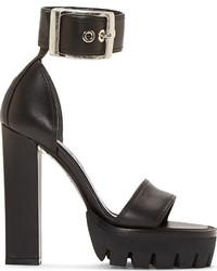 Sandali con tacco in pelle pesanti neri