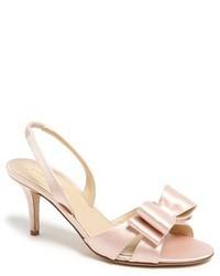 Sandali con tacco in pelle rosa