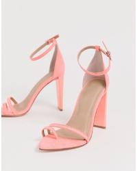 Sandali con tacco in pelle rosa di ASOS DESIGN