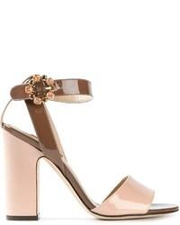 Sandali con tacco in pelle rosa di Dolce & Gabbana