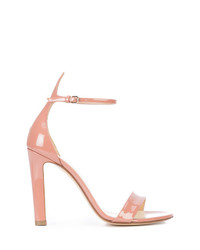 Sandali con tacco in pelle rosa di Francesco Russo