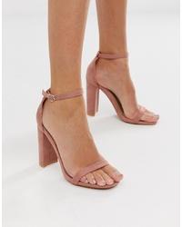 Sandali con tacco in pelle rosa di Glamorous