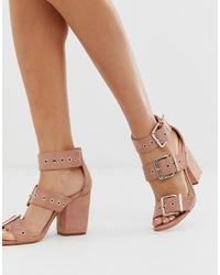Sandali con tacco in pelle rosa di Public Desire