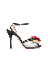Sandali con tacco in pelle rossi e neri di Charlotte Olympia