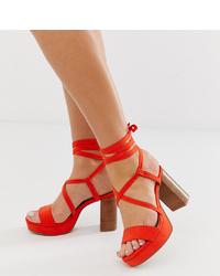 Sandali con tacco in pelle rossi di ASOS DESIGN