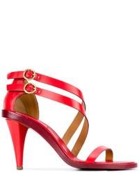Sandali con tacco in pelle rossi di Chloé