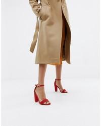 Sandali con tacco in pelle rossi di Glamorous