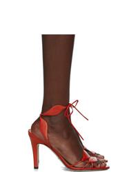 Sandali con tacco in pelle rossi di Gucci