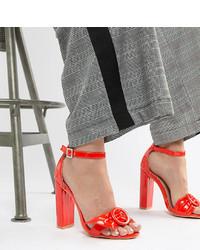 Sandali con tacco in pelle rossi di LOST INK