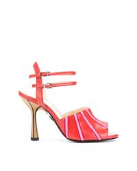 Sandali con tacco in pelle rossi di Marni