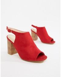 Sandali con tacco in pelle rossi di Park Lane