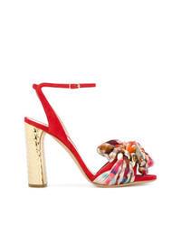 Sandali con tacco in pelle scamosciata a quadri rossi