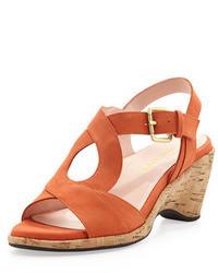 Sandali con tacco in pelle scamosciata arancioni
