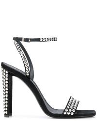 Sandali con tacco in pelle scamosciata con borchie neri di Giuseppe Zanotti Design
