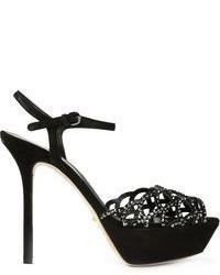 Sandali con tacco in pelle scamosciata decorati neri