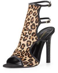 Sandali con tacco in pelle scamosciata leopardati marrone chiaro