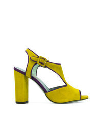 Sandali con tacco in pelle scamosciata lime