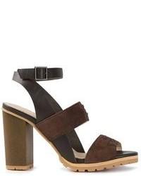 Sandali con tacco in pelle scamosciata marrone scuro di See by Chloe