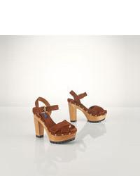 Sandali con tacco in pelle scamosciata marroni