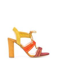 Sandali con tacco in pelle scamosciata multicolori