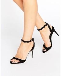 Sandali con tacco in pelle scamosciata neri di Aldo