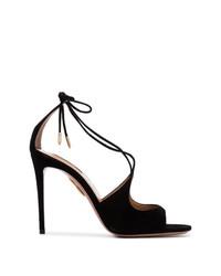 Sandali con tacco in pelle scamosciata neri di Aquazzura