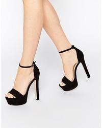Sandali con tacco in pelle scamosciata neri di Asos