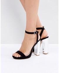 Sandali con tacco in pelle scamosciata neri di Coco Wren
