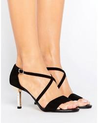 Sandali con tacco in pelle scamosciata neri di Dune