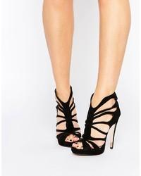 Sandali con tacco in pelle scamosciata neri di Forever Unique
