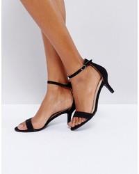 Sandali con tacco in pelle scamosciata neri di Glamorous