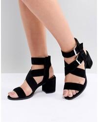 Sandali con tacco in pelle scamosciata neri di Office