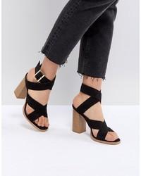 Sandali con tacco in pelle scamosciata neri di RAID